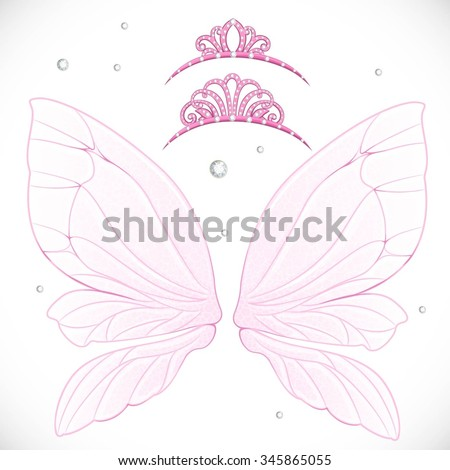pink fairy wings with tiara
