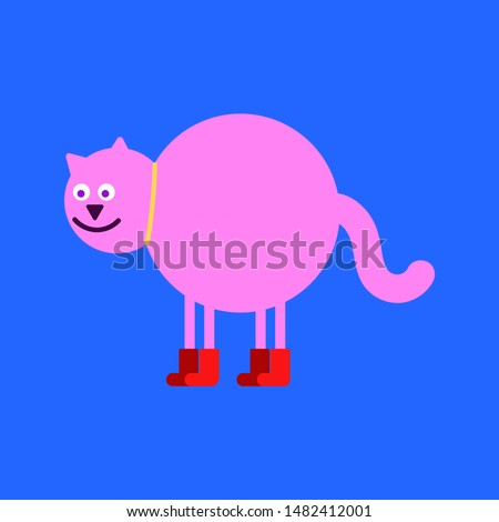 pink fat cat in red boots puss