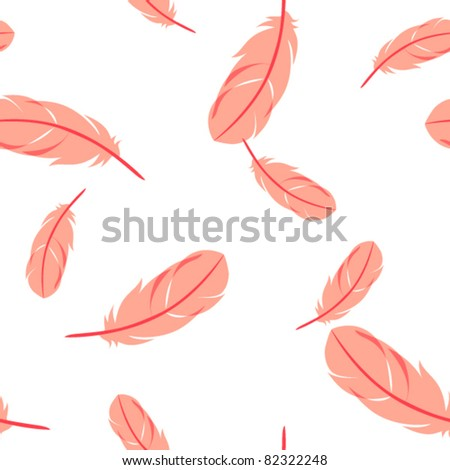 Pink feathers on white background. Vector illustration