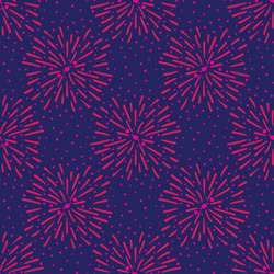 Pink fireworks on blue sky seamless vector pattern. Surface pritn design for fabrics, textiles, stationery, scrapbook, gift wrap, and packaging. Great for new year, divali, festivals, and celebrations