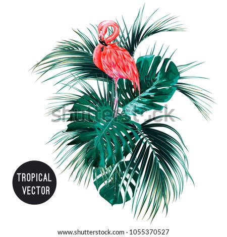 Pink flamingo bird, tropical palm leaves, monstera, jungle leaf composition. Vector exotic plants botanical illustration isolated on white background