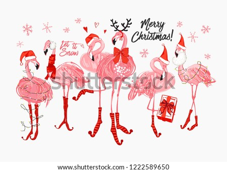 Pink flamingo Christmas and happy New Year greeting card. Santa and deer flamingo with Santa hat, scarf, holidays greetings sign. Vector watercolor decoration on white backdrop.