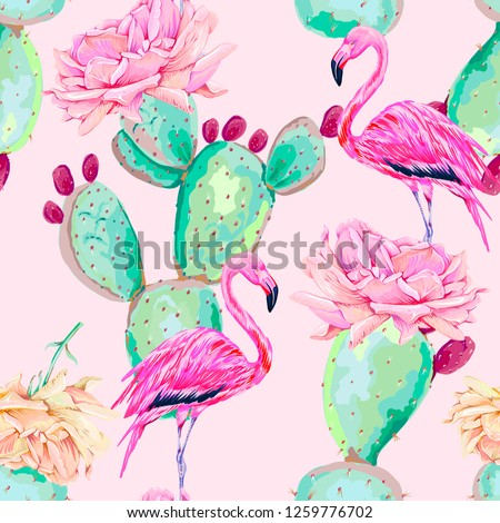 Pink flamingo, exotic birds, gentle flowers, rose, cactus, tropical vector seamless floral pattern background. Decorative beautiful illustration wallpaper