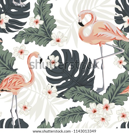 Pink flamingo, graphic palm leaves, plumeria flowers, white background. Vector floral seamless pattern. Tropical illustration. Exotic plants, birds. Summer beach design. Paradise nature