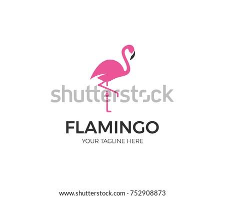 pink flamingo logo template