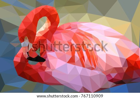 pink flamingo  low poly style