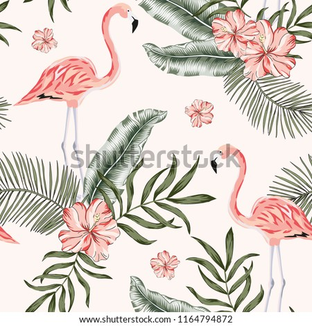 Pink flamingo palm leaves, hibiscus flowers bouquets background. Vector floral seamless pattern. Tropical illustration. Exotic plants and birds. Summer beach design. Paradise nature