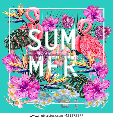 Pink flamingo, tropical flowers, palm leaves, hibiscus, bird of paradise flower, peonies. Beautiful vector floral jungle summer background