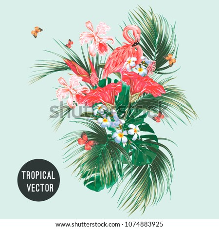 Pink flamingo, tropical flowers, palm leaves, monstera, hibiscus, orchid flower, butterflies flying, jungle leaf composition. Summer vector exotic plants botanical illustration isolated