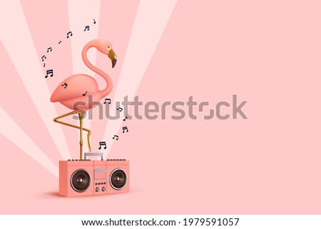 Pink flamingo with Music player. Realistic 3d design of objects. Musical summer concept background. Vector illustration