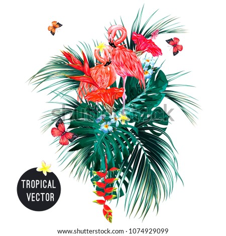 Pink flamingos, tropical flowers, palm leaves, monstera, hibiscus, bird of paradise flower, plumeria, butterflies flying, jungle leaf composition. Summer vector exotic botanical illustration isolated