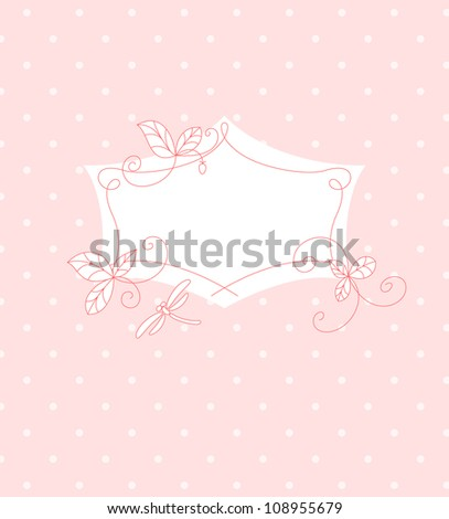 Pink floral frame with a dragonfly Vector illustration