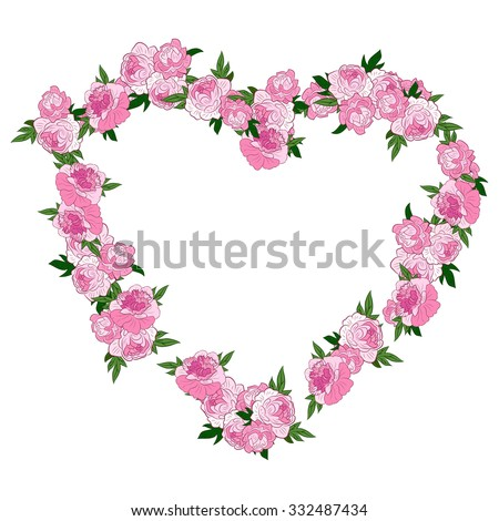 Pink Floral Heart Shape Wreath Made With Peonies. Frame or Border of Flowers  Isolated On White Background. Good For Web, Print, Invitations, Greeting or Save The Date Cards.