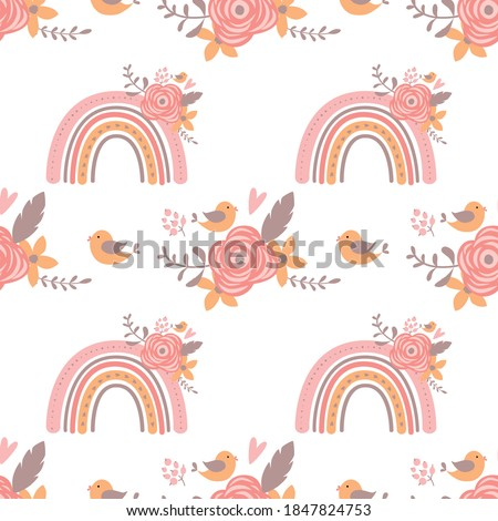 Pink floral rainbow pattern Pink romantic baby girl rainbow. Floral girly background Cute graphic paper Lovely wallpaper