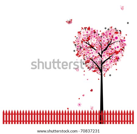 pink floral tree  heart shape