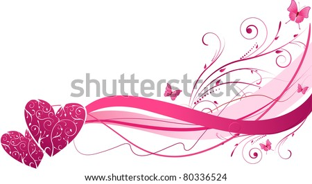 Pink floral wave with hearts and butterflies