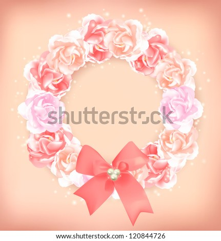 pink floral wreath - greeting card