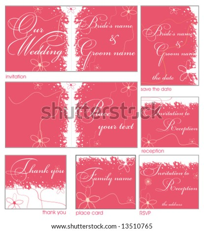 Pink flower reception card set 9 To see similar please VISIT MY GALLERY