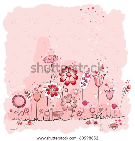 Pink flowers and insects greeting card - Every object grouped for easy use