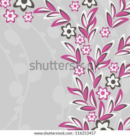 Pink flowers and leaves