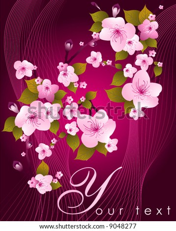 pink flowers background. stock vector : Pink flowers on