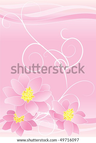Pink Flowers With Yellow Centers Border On Pink Abstract Background