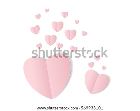 pink folded paper hearts with