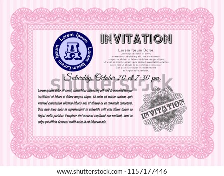 Pink and brown branch vector wedding invite download free vector pink formal invitation vector illustration with great quality guilloche pattern money style design stopboris Images