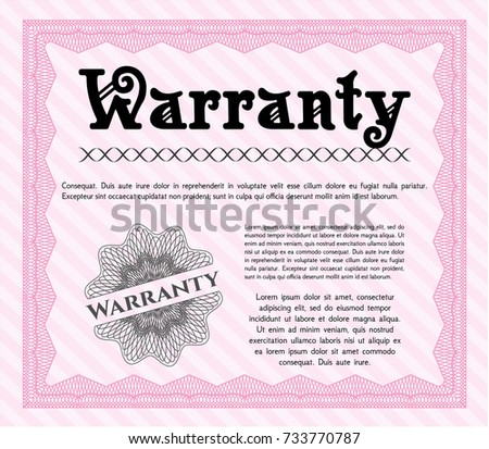 Pink Formal Warranty Certificate template. Money Pattern design. Detailed. With guilloche pattern and background.