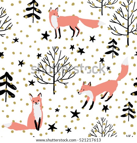 pink foxes in the woodland