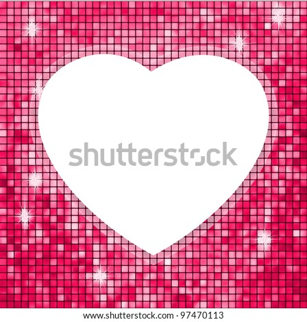 Pink frame in the shape of heart. EPS 8 vector file included - stock vector