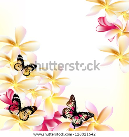 Pink gardenia flowers and butterflies on white background for design