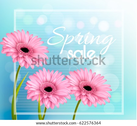 Pink gerbera daisies on a blue bokeh background. Spring sale vector. #622576364
