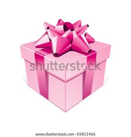 Pink gift with bow vector illustration