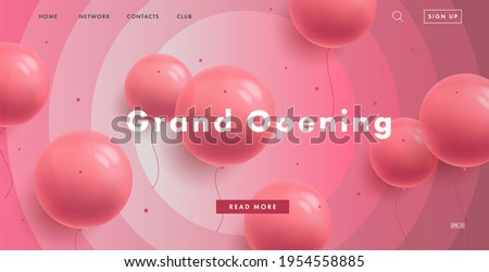 Pink girlish web banner promo landing page for candy shop grand opening with pink round ballons and interface on pink circled background