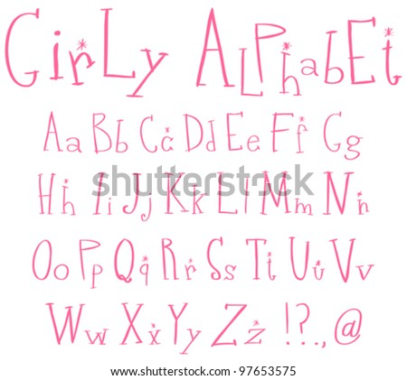 Pink girly alphabet