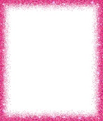 Pink glitter frame with sparkles on white background