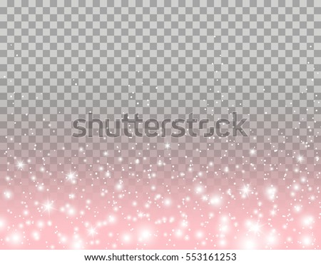Pink glitter particles, shine confetti and glowing lights effect for luxury greeting card design. Vector white stars sparkle on transparent background.