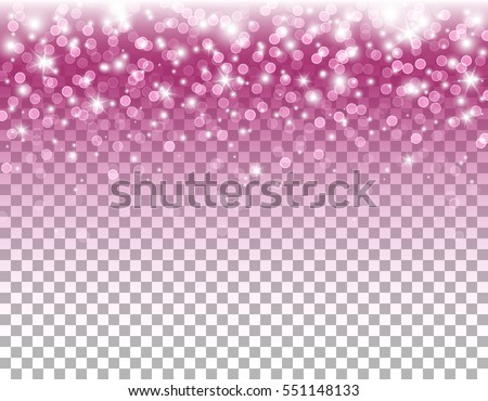 Pink glitter texture and white glowing lights effect with confetti. Vector star sparks isolated on pink magic transparent background for sparkles greeting card design.