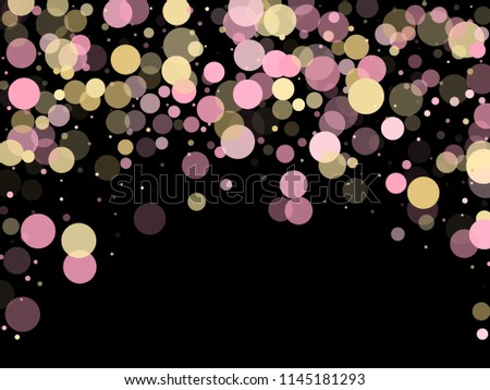 Stock Photo Pink gold confetti circle decoration for New Year banner background. Bokeh lights effect vector. Gold, pink and rose color round confetti dots, circles scatter on black. Trendy rich bokeh background.