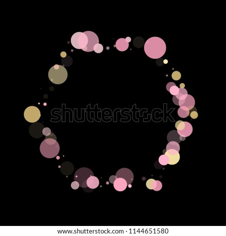 Stock Photo Pink gold confetti circle decoration for party poster background. Bokeh lights effect vector. Gold, pink and rose color round confetti dots, circles scatter on black. Elegant bokeh background.