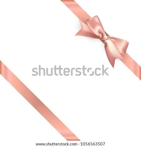 Pink gold satin ribbon on white background. Vector illustration.