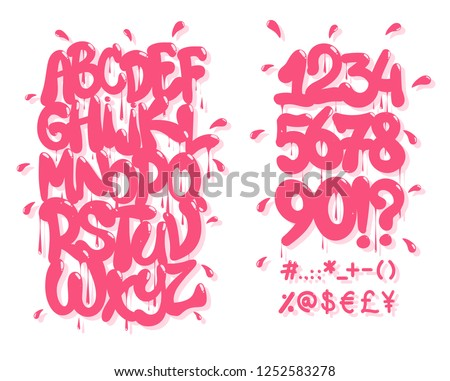 Pink graffiti font. Vector illustration,EPS 10.