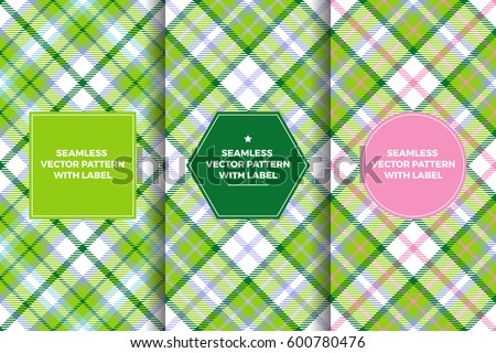 Pink Green Tartan Seamless Patterns with Label Frame. Copy Space for Text. Set of Design Templates for Packaging, Covers or Gift Wrapping. Preppy Style Women's Sports Fashion Prints.