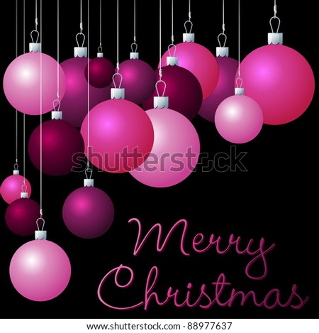 Pink group of Christmas baubles in vector format.