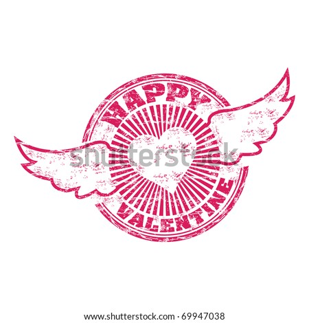 Pink grunge rubber stamp with wings and the text Happy Valentine written inside the stamp