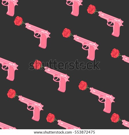 pink gun with roses seamless