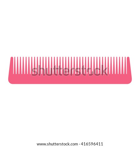 pink hair comb icon on white