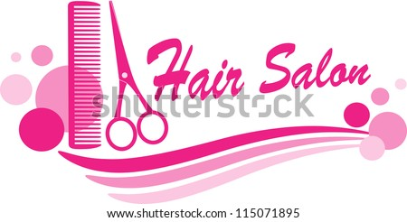 pink hair salon sign with scissors silhouette and design elements