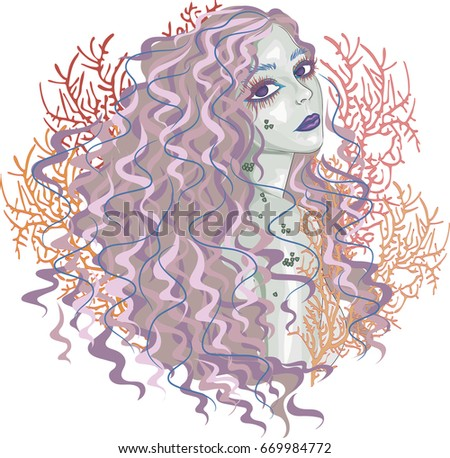 pink haired  mermaid   vector